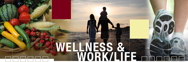 Wellness and work life banner represents the healthy food and a family walk on the beach