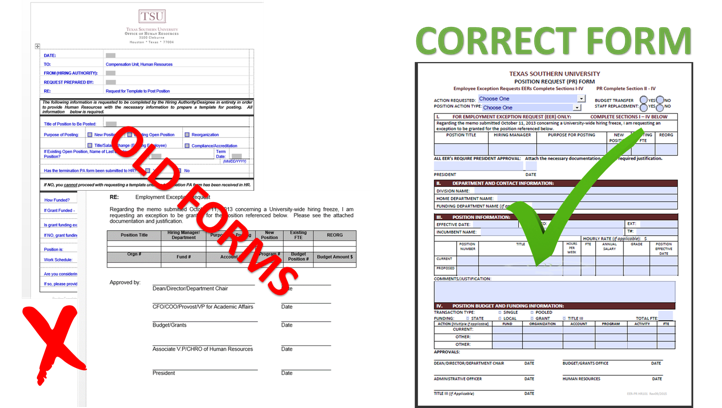 The Image represents the Old forms and Correct form of Texas southern University Position Request Form